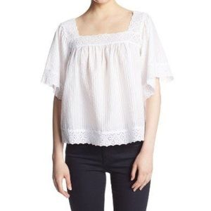 Juicy Couture White Shadow Stripe Eyelet Top